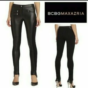 BCBGMaxAzria Stephen Moto Black Leather leggings